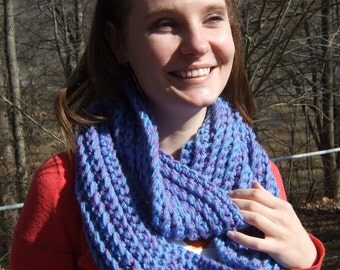 Infinity Scarf, Chunky, Crochet, Blue and Purple, Two-Tone, women's circle scarf