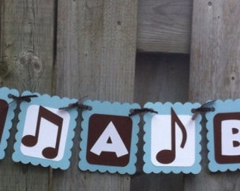 ITS A BOY Rock And Roll Theme Banner, Baby Shower Decorations, Baby Blue,