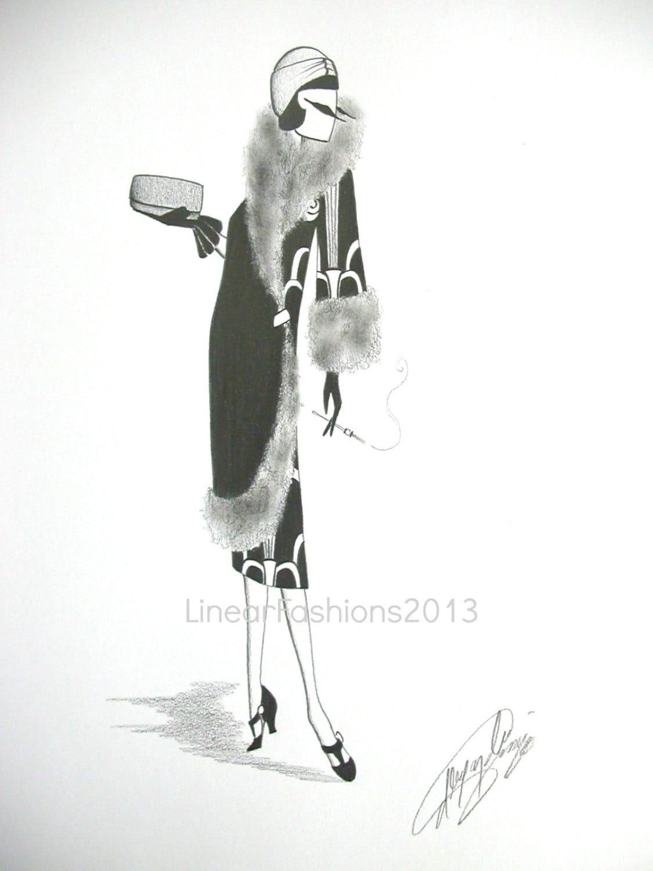 art deco fashion illustration 1920s coat by linearfashions