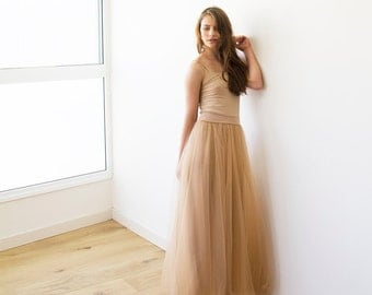 Tulle maxi gold-brown bridesmaids skirt , Maxi tulle brown skirt