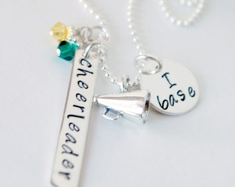 Custom Cheerleading Jewelry - Personalized Necklace - I Fly Cheer -  Cheerleader Custom Hand Stamped with Megaphone Charm Sterling Silver