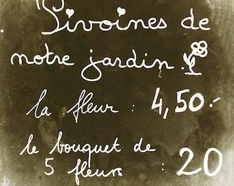 Paris Photography, Paris Print, Flower Market Sign, Peony Garden Art, French Decor, Parisian Home Decor, Kitchen Art, Paris Menu Wall Art