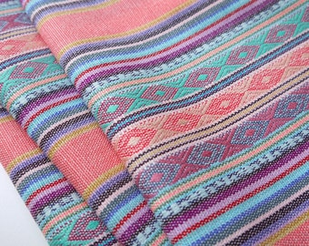Aztec Fabric, Peruvian Fabric, Woven, Pale Pink Lima Stripes, 2 Yards