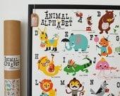 Animal Alphabet Nursery Print, Nursery Poster, New Baby Print, Fun Alphabet Print, ABC Poster, Retro Alphabet Print, Vintage Style Alphabet
