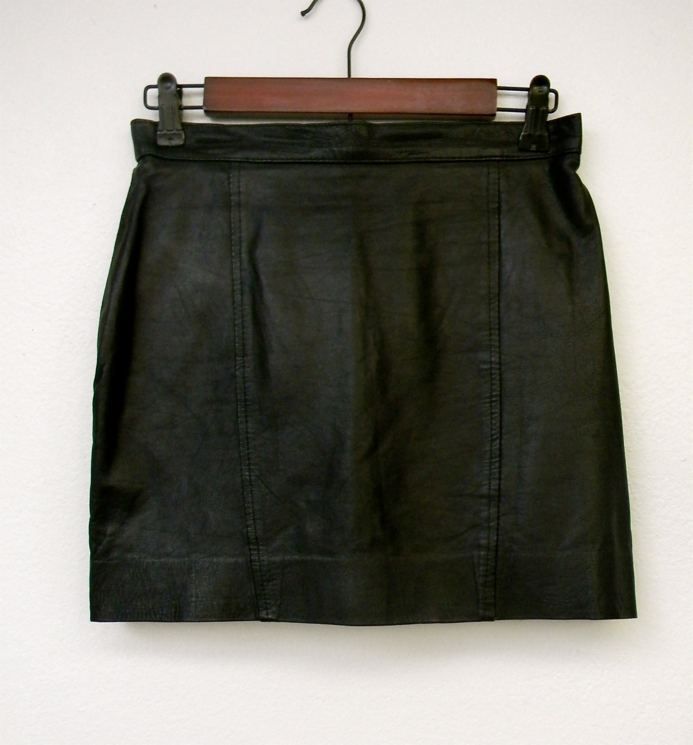 vintage 80s black leather micro mini skirt by