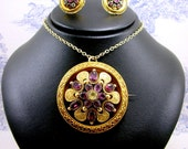 Victorian 15ct Gold Pendant and Daisy Earrings Garnet Chrysoberyl