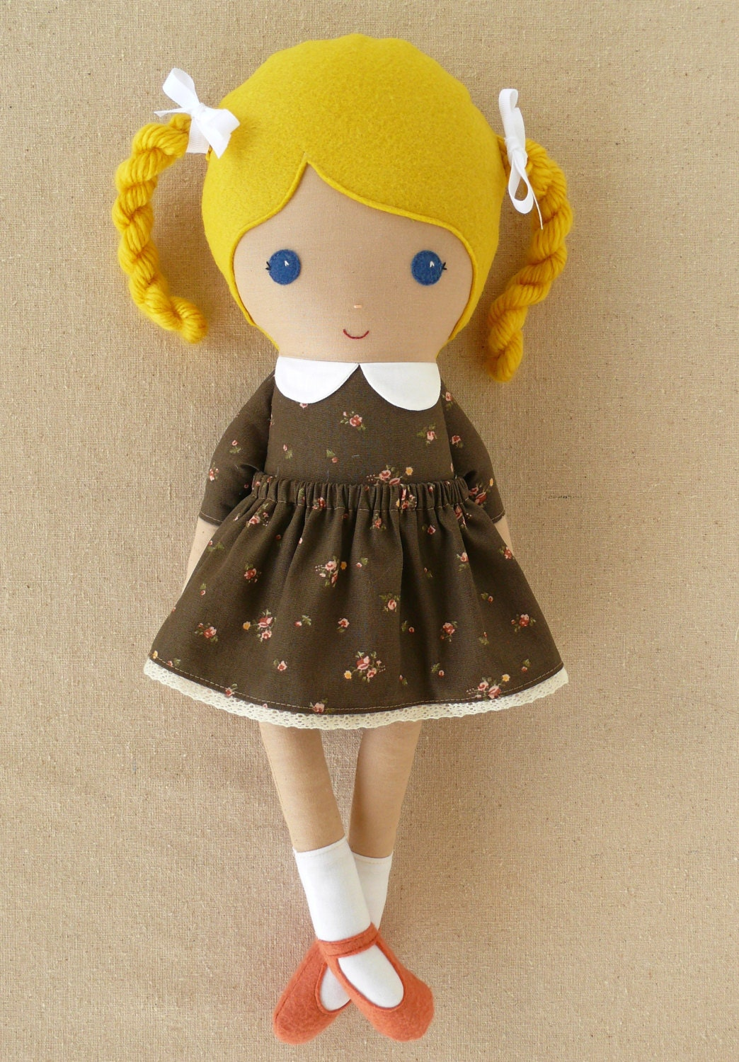 Fabric Doll Rag Doll Girl In Brown Floral Dress
