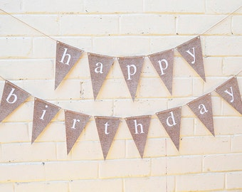 Printable Happy Birthday Banner  INSTANT DOWNLOAD // burlap // rustic