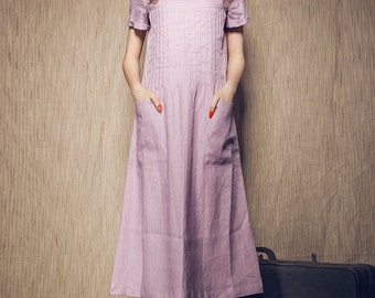 Violet Linen Dress with pockets / Pleated Long Dress (Custom Made)
