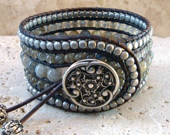 Labradorite & Silver Gemstone Handmade Beaded Leather Cuff Style Single Wrap Bracelet