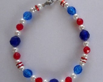 Dog Pet Necklace Collar Jewelry- Red White and Blue Patriotic- Choice of 3 Sizes