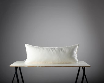 White linen lumbar pillow cover - pillows cases - trow pillow - inch size with invizible zipper closure  0030