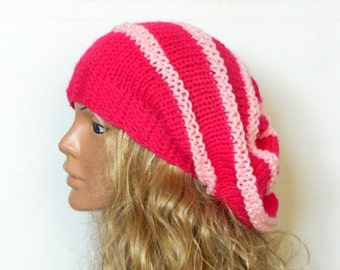 Knit Slouchy Beehive Hat - Knit Hipster Hat - fuchsia and pink hat,Slouchy Hipster Hat - Knit Women's Grey Slouchy Hat -