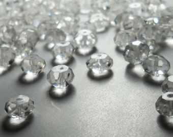 Natural Rock Crystal Quartz Faceted Rondelle Beads 6mm - 7mm