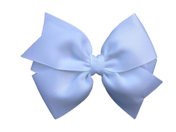 4 inch white hair bow - white bow, 4 inch bow, pinwheel bow, girls hair bows, white hair bows, girls bows, toddler bows, hair clips