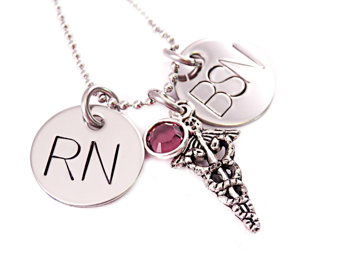 Personalized Nurse Necklace RN BSN Engraved Stainless