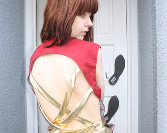 A 'Riff Raff' Red and Gold Waistcoat