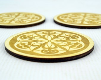 Set of 3 Engraved Wooden Coasters / Wedding Gift / Decorations