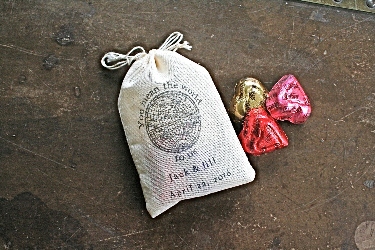 Custom Printed Wedding Favor Bags : Personalized wedding favor bags 3x4.5. Set of 50 double