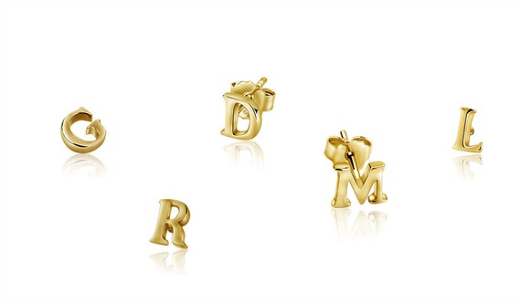 alphabet stud earrings 14k gold alphabet earring 925 sterling silver by mimicdesign 1984