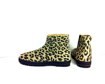 Leather Leopard Print Ankle Boots 9 - Minimal Flat Ankle Boots 9 - Animal Print