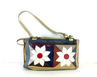 Leather Daisy Shoulder Bag - Boho Patchwork Leather Purse - 70s Floral Bag