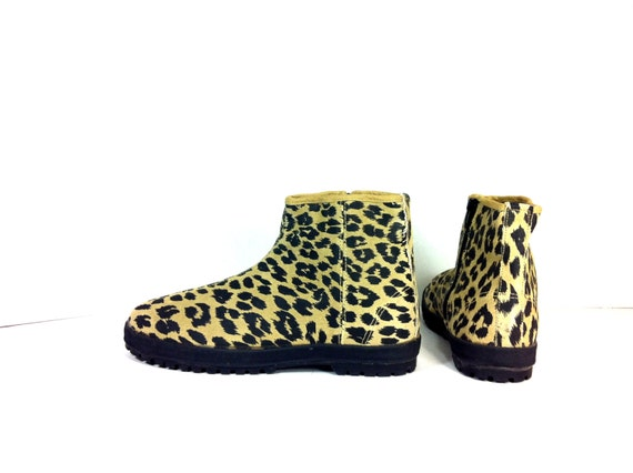 leather leopard print ankle boots 9 minimal flat ankle boots