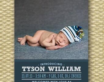 Custom Birth Announcement - Typography Portrait - Tyson