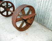 Industrial Vintage Axel with 2 wheels Antique Iron Wheels Industrial Cart Wheel Old Factory Aged Red and Rust Patina Assemblage