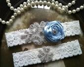SALE-Wedding Garter - Light Blue Ivory Lace Garter Set - Rhinestone Garter - Applique Garter - Bridal Garter - Vintage Garter - Toss Garter