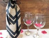 Chevron Burlap Gift Bag, Wine Bag, Hostess gift, Housewarming gift, Black Ribbon, Chevron, New Years