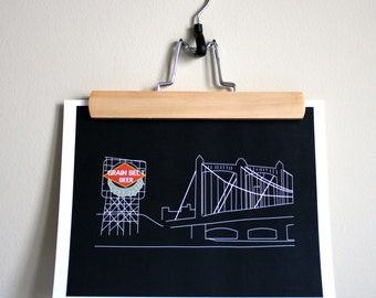 Grain Belt Sign Outline Print - Digital Art Print - Minneapolis