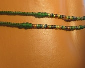 El Yunque II Double (2) Strand Green Multicolored Waistbeads with Sterling Silver Clasp - African Waist Beads