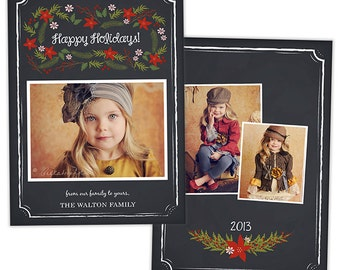 Holiday Christmas Card Template for Photographers Photo Card Template - HC217