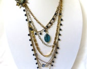 Sail Away - Repurposed Vintage OOAK Necklace with vintage brooch, chain, and beads