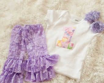 SALE Baby girl first birthday outfit, onepiece bodysuit, lace leg warmers, rosette headband, butterfly, purple photo prop, birthday fashion