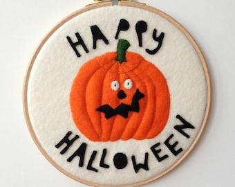 Wool Felt Happy Halloween Jack O Lantern Pumpkin Embroidery Hoop Decoration orange white black