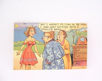 Vintage Linen Funny Postcard But I Wasnt Petting in the Park, Vintage Collectible 50s Humor Unused Postcard