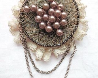 Beaded Brooch, Round Brooch Pin with Purple Beads Handmade Wire Jewelry Beadwork, OOAK