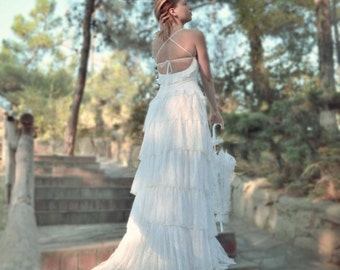 White Wedding Dress, Lace Wedding Dress, Bohemian Wedding Dress, Boho Wedding Dress, White Bridal Dress, Long Wedding Gown, SuzannaM Designs