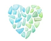 Sea Glass Heart watercolor painting - Fine art archival reproduction, 8x10 giclee print - Sea foam, blue green ombre