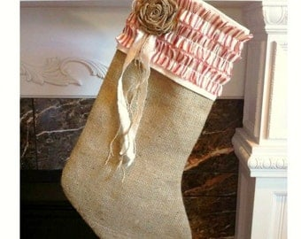 READY TO SHIP! Lined Natural Wool Burlap, Red and Cream Accented Christmas Stocking