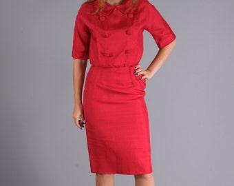 Original 1950's Carmine Red Vintage Designer Dress by Sakowitz Houston