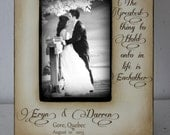 Couple Personalized Wedding Engagement Distressed Vintage Picture 4x6 Photo Frame - Personalized Gift - Keepsake 5x7