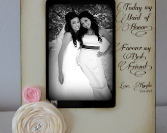 bridesmaids giftsmaid of honor bridesmaidcousins picture framewedding 5x7 gift personalized flowers colors diamonds pearls