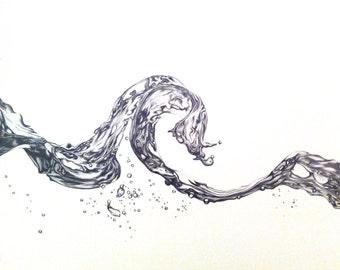 Wave // Original Pencil Drawing, Artwork by Lucy Beevor