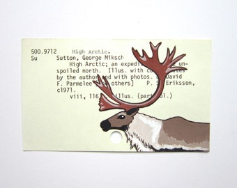 Reindeer Library Card Art - Print of my painting of a reindeer on a library card catalog card for High Arctic