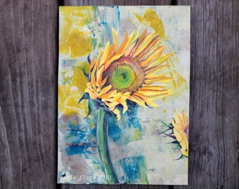 "Archival Print of Original Mixed Media ""Sunflowers on Turquoise"""