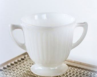 Vintage Milk Glass Sugar Bowl Open Double Handled FireKing Style