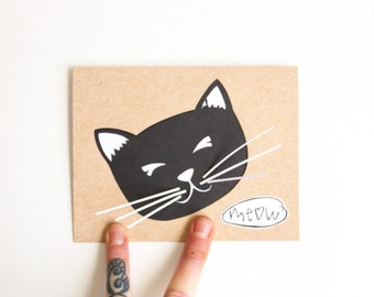 Hand Cut Cat Card: CLEARANCE Cat Meow Birthday--custom color + message
